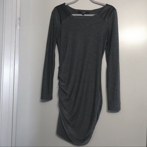 Guess | Gray Ruched Bodycon Long Sleeve Dress, M